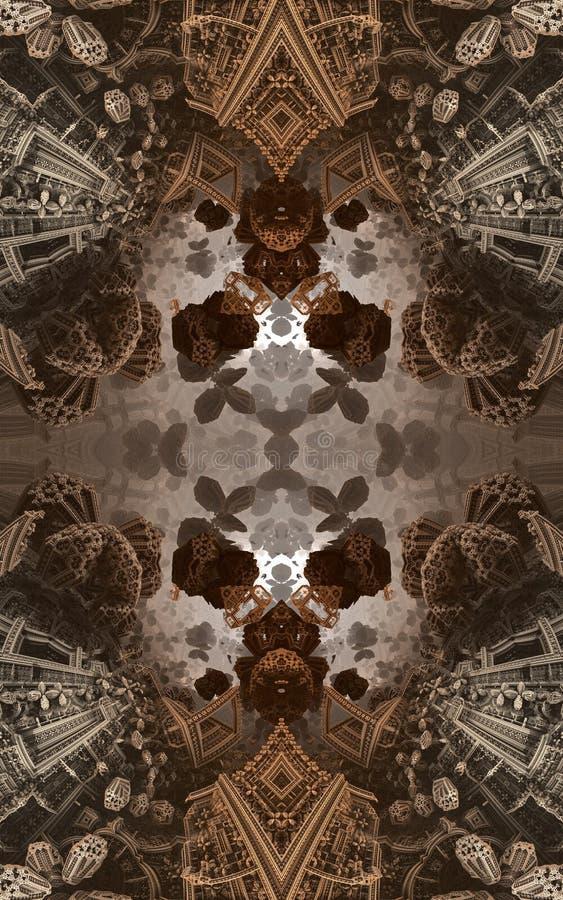 Cartel o fondo fantástico abstracto Vista futurista desde adentro del fractal Modelo arquitectónico 3d stock de ilustración