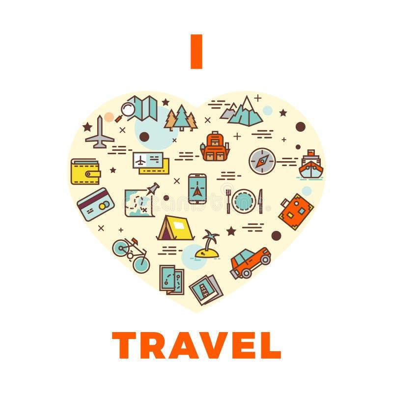 Cartel o impresión - diseño del viaje del viaje del amor de i con el corazón de iconos del viaje ilustración del vector