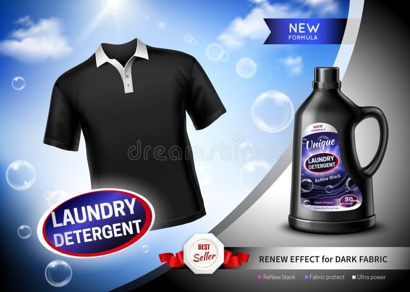Cartel oscuro de la tela del detergente para ropa stock de ilustración