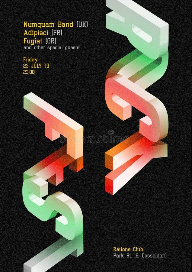 Cartel oscuro del vector del Fest de la roca Cubierta de la música para el verano al aire libre stock de ilustración