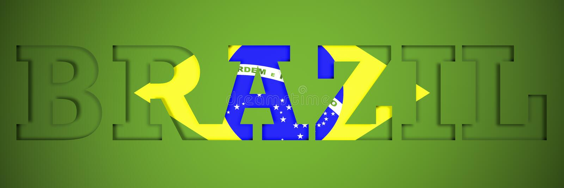 Cartel panorámico de la palabra el Brasil foto de archivo