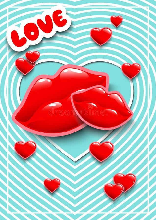 Cartel para el día o las bodas de la tarjeta del día de San Valentín con los corazones Etiquetas engomadas para un partido Tarjet libre illustration