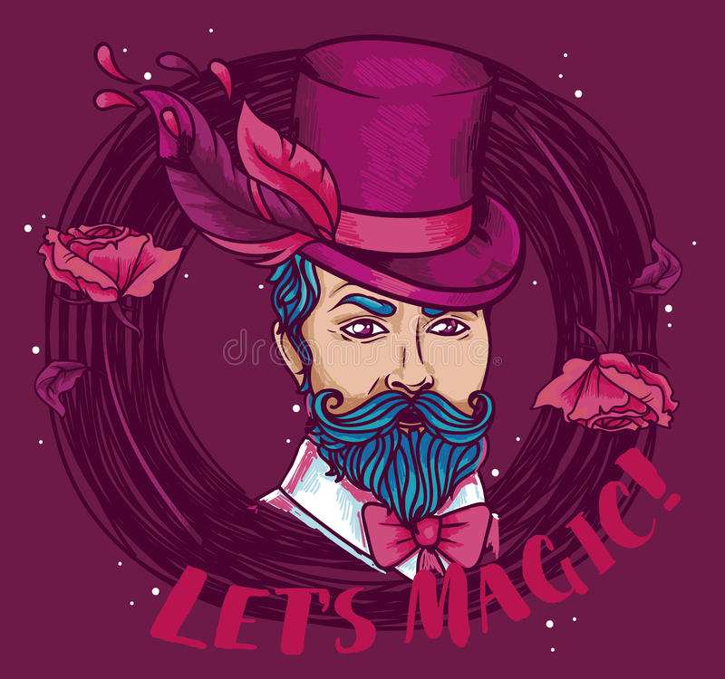 Cartel para el funcionamiento del mago en estilo gitano stock de ilustración