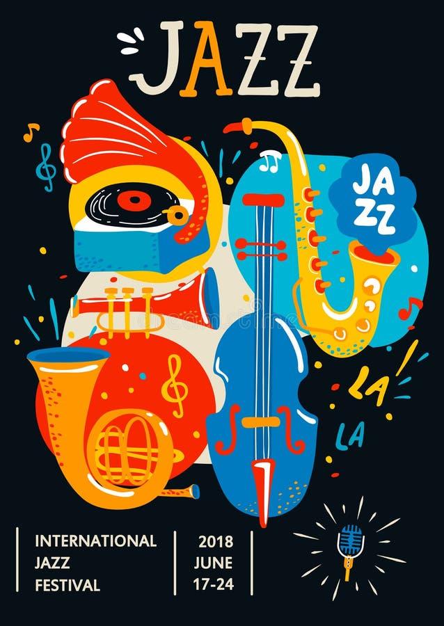 Cartel para el jazz ilustración del vector