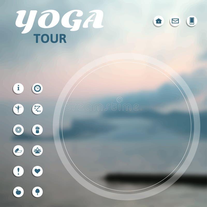 Cartel para el viaje de la yoga, viaje, viaje, vacaciones en un fondo de la naturaleza ilustración del vector