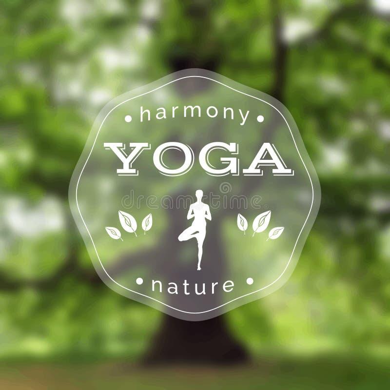 Cartel para la clase de la yoga con una opinión de la naturaleza EPS, JPG ilustración del vector