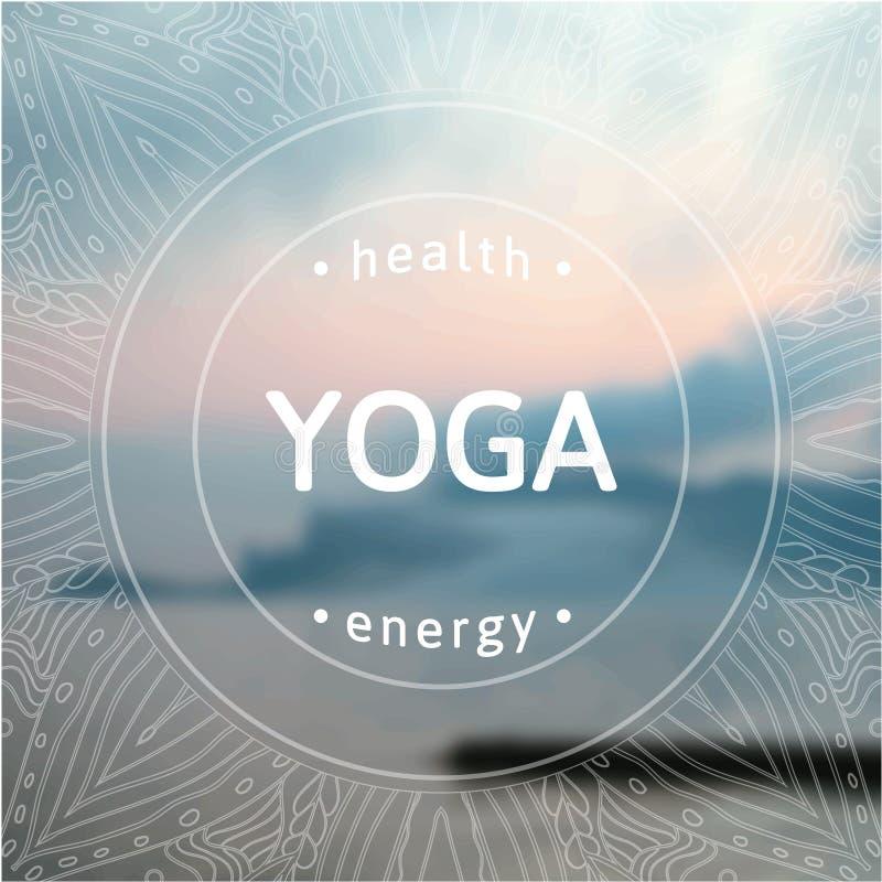 Cartel para la clase de la yoga con una opinión del mar EPS, JPG stock de ilustración