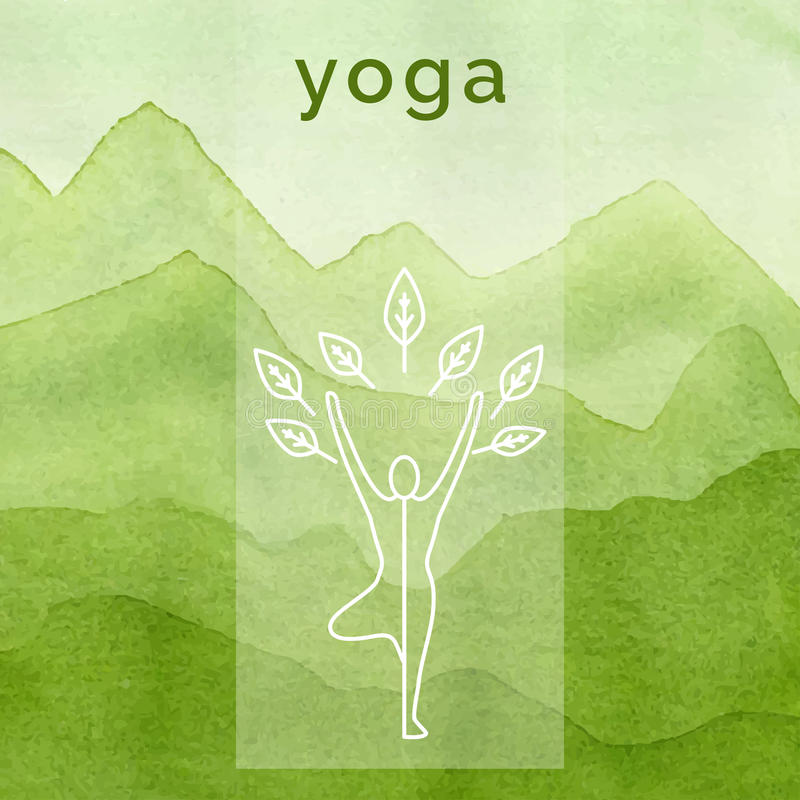 Cartel para la clase de la yoga Fondo de la acuarela libre illustration