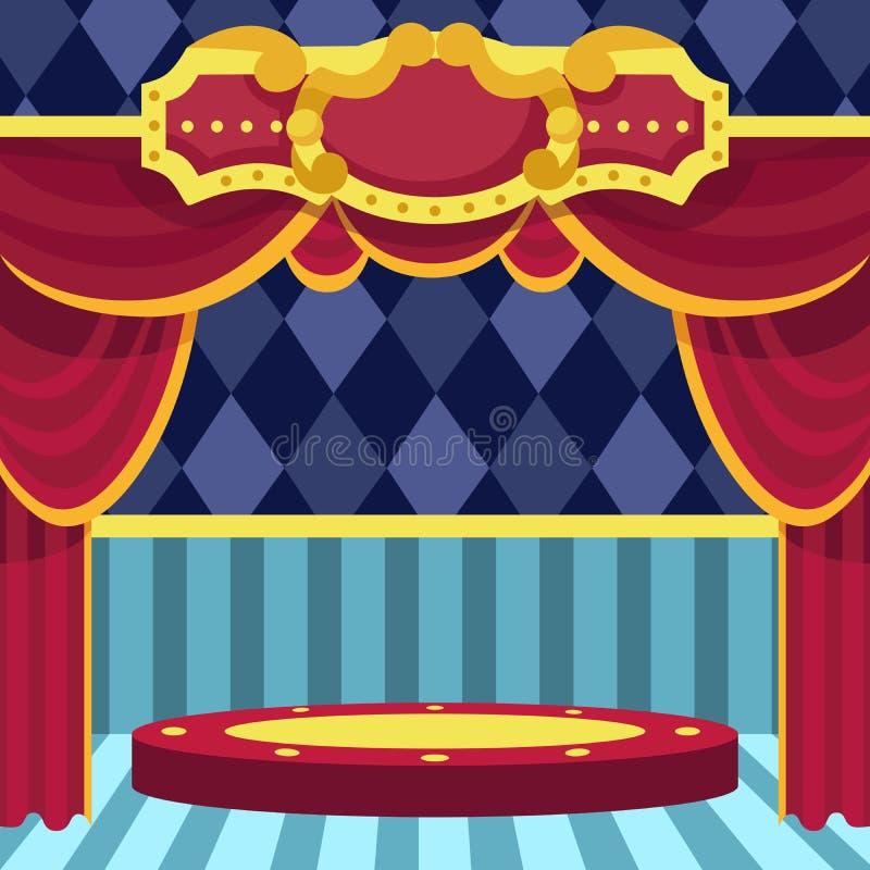 Cartel para la demostración circo Teatro escena Ilustración de la historieta del vector libre illustration