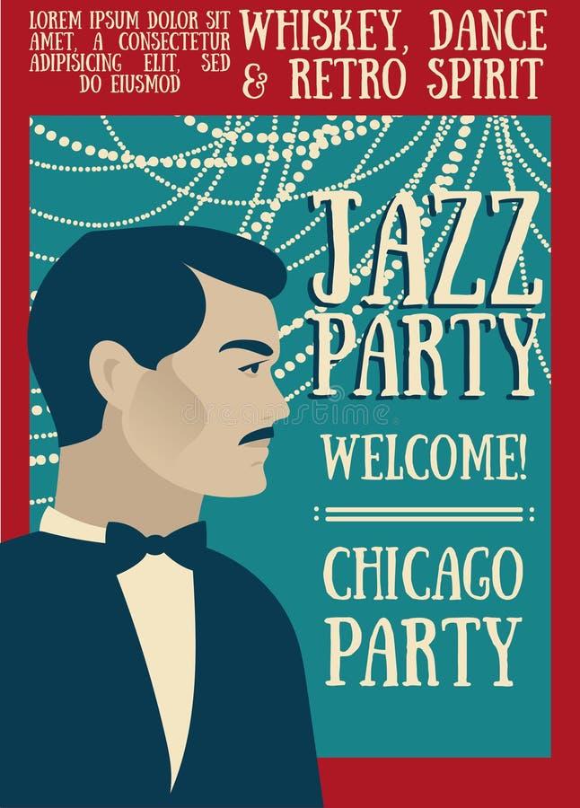 Cartel para la demostración del jazz stock de ilustración