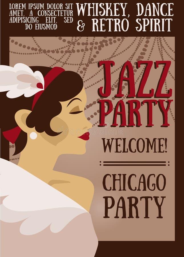 Cartel para la demostración del jazz ilustración del vector