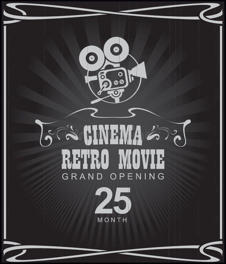 Cartel para la película retra del cine con la cámara vieja libre illustration