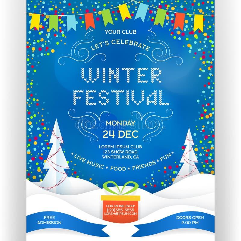 Cartel para la plantilla del acontecimiento del día de fiesta del festival del invierno ilustración del vector