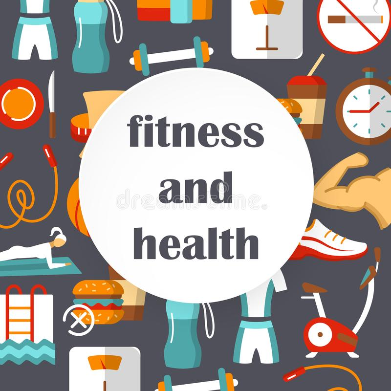 Cartel plano de la aptitud y de la salud ilustración del vector