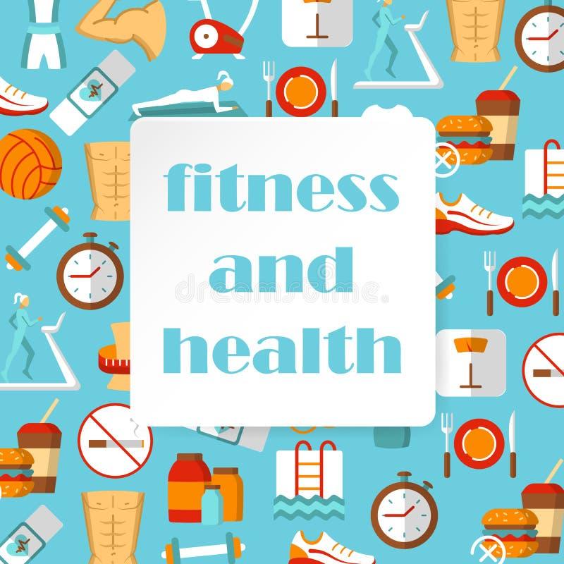 Cartel plano de la aptitud y de la salud stock de ilustración