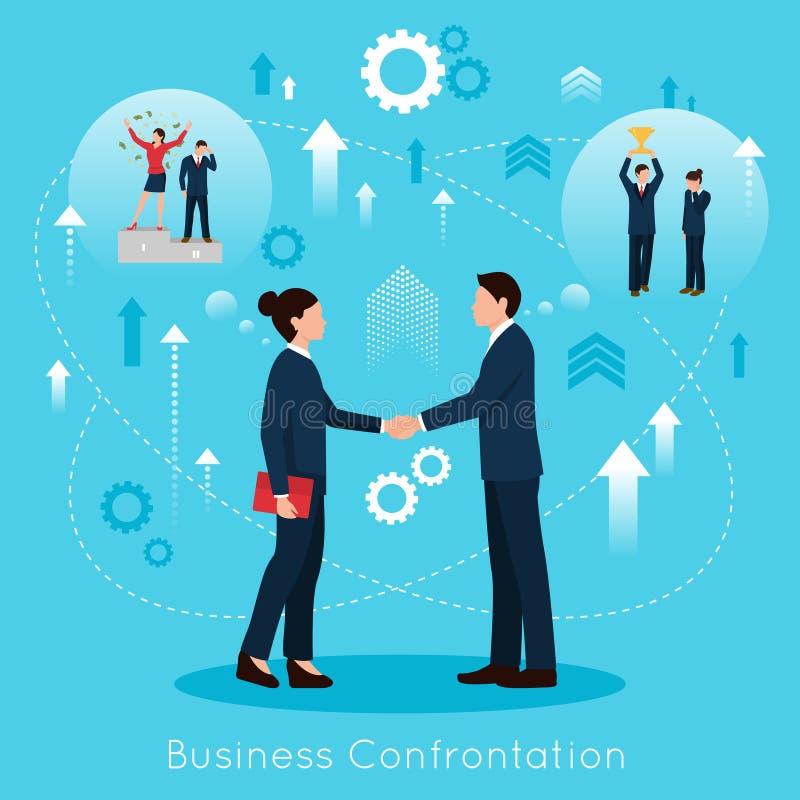 Cartel plano de la composición de la confrontación constructiva del negocio stock de ilustración