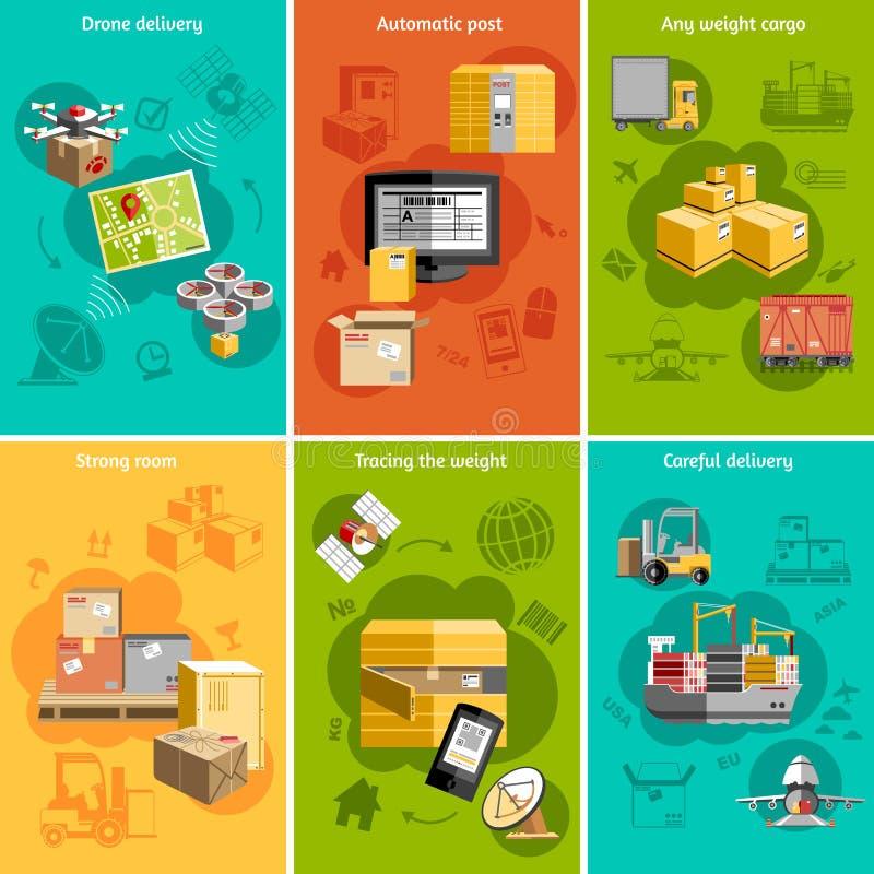 Cartel plano de la composición de los iconos de la nueva logística stock de ilustración