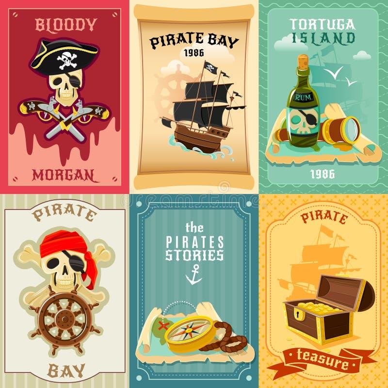 Cartel plano de la composición de los iconos del pirata stock de ilustración
