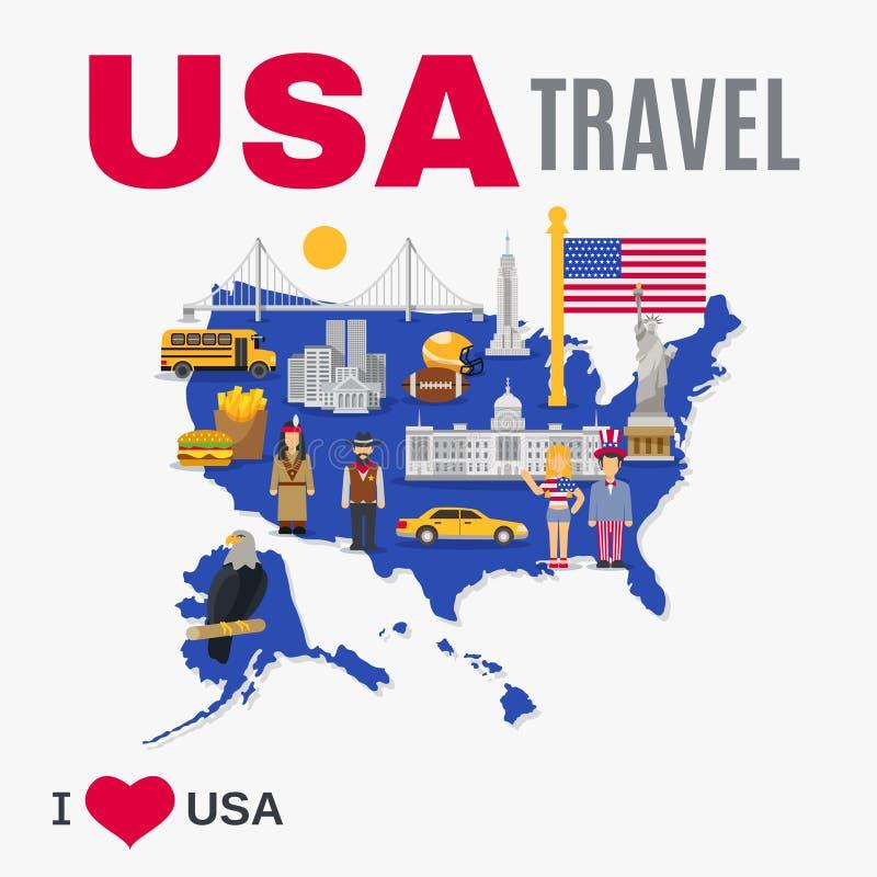 Cartel plano de la cultura de los E.E.U.U. de la agencia del World Travel ilustración del vector