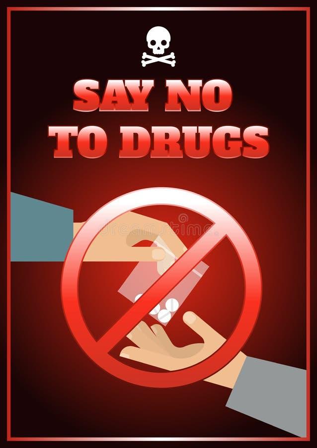 Cartel plano de las drogas stock de ilustración