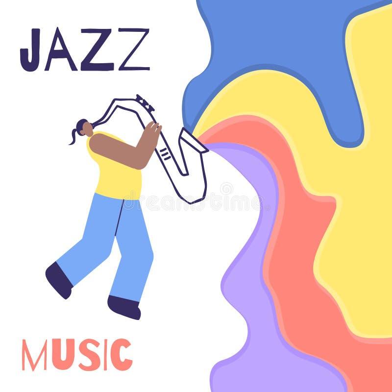 Cartel plano del color de Jazz Man Saxophone Music Sound ilustración del vector