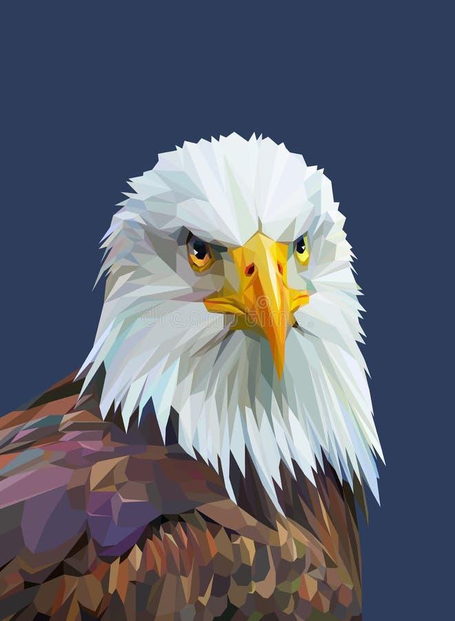 Cartel polivinílico bajo con el águila Ilustración del vector stock de ilustración
