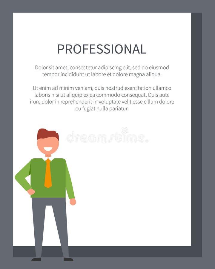 Cartel profesional con el hombre de negocios en suéter ilustración del vector