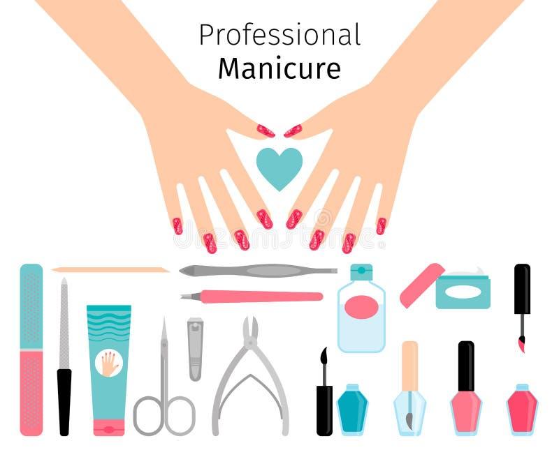 Cartel profesional de la manicura en estilo plano stock de ilustración