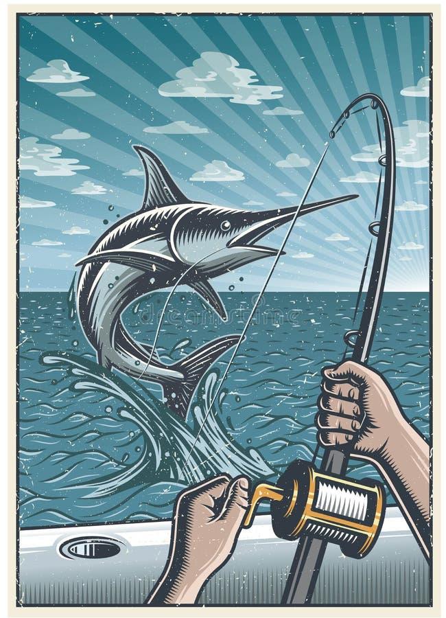 Cartel profundo de la pesca en mar del vintage stock de ilustración