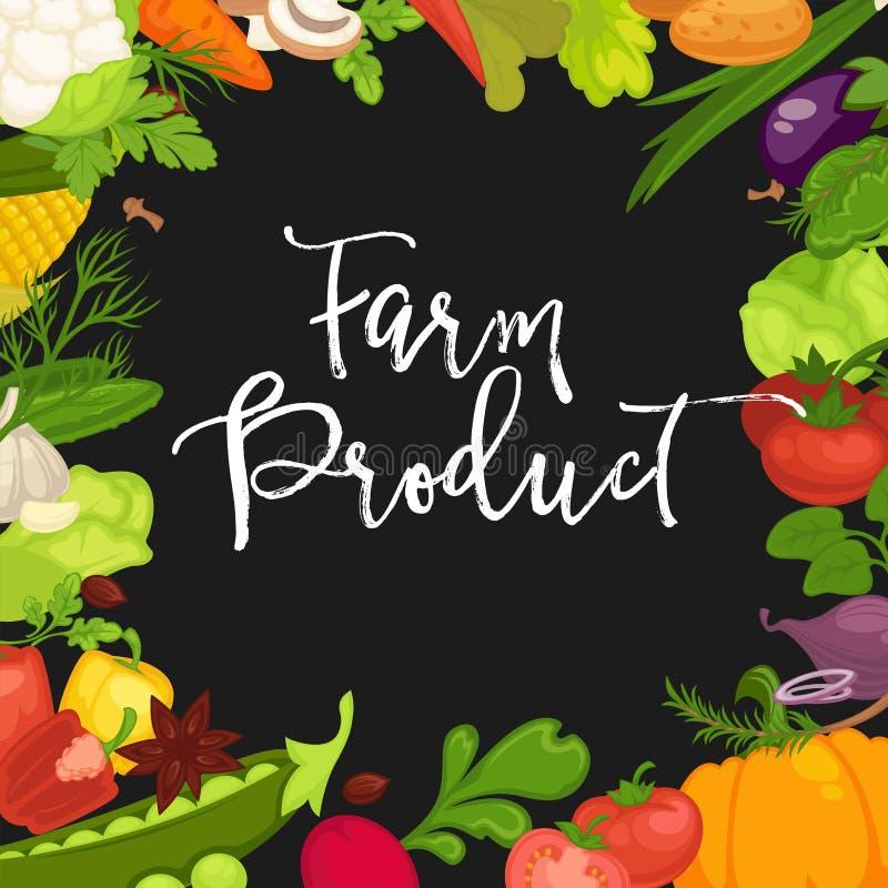Cartel promocional del producto agrícola con las verduras orgánicas frescas libre illustration