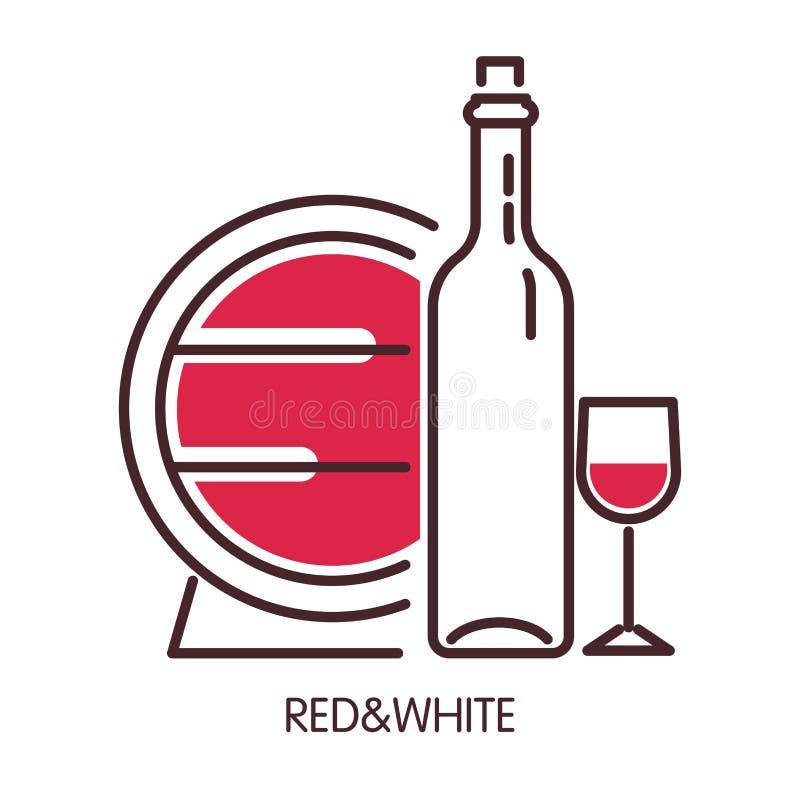 Cartel promocional del vino blanco rojo y con el barril y la botella stock de ilustración