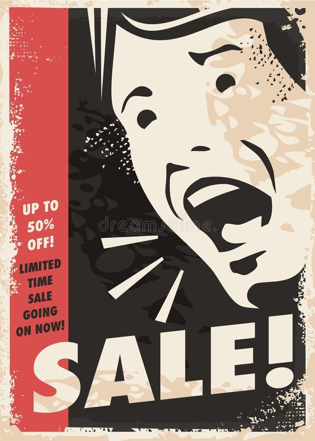 Cartel promocional retro de la venta del estilo cómico stock de ilustración