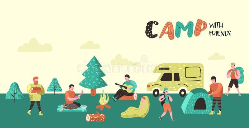 Cartel que acampa del verano, bandera Gente de los personajes de dibujos animados en fondo del campo Equipo del viaje, hoguera, a ilustración del vector