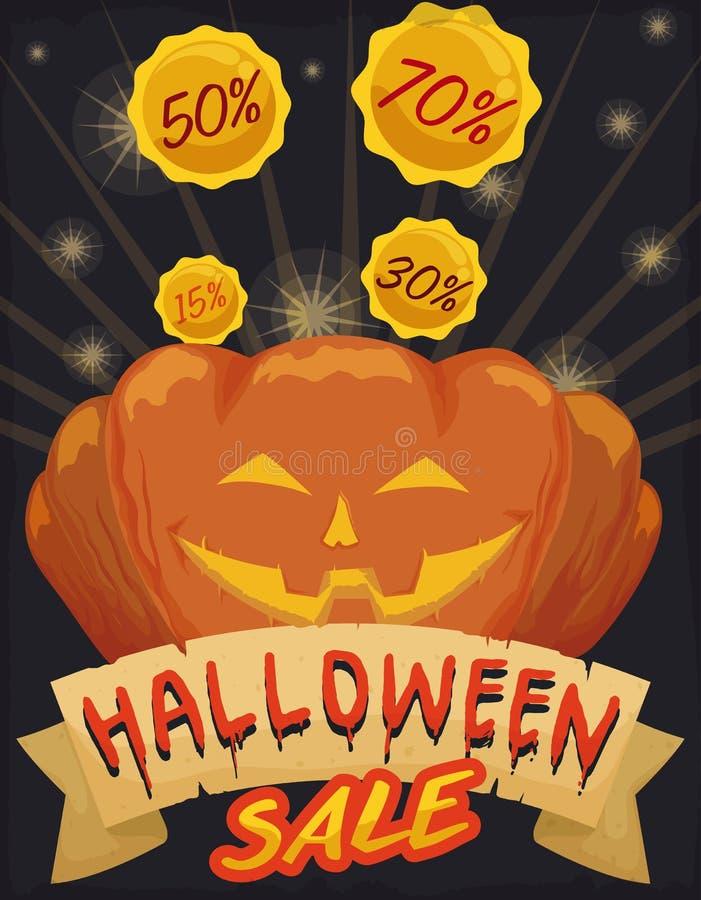 Cartel que anuncia los descuentos especiales para la venta de Halloween con la calabaza sonriente, ejemplo del vector stock de ilustración