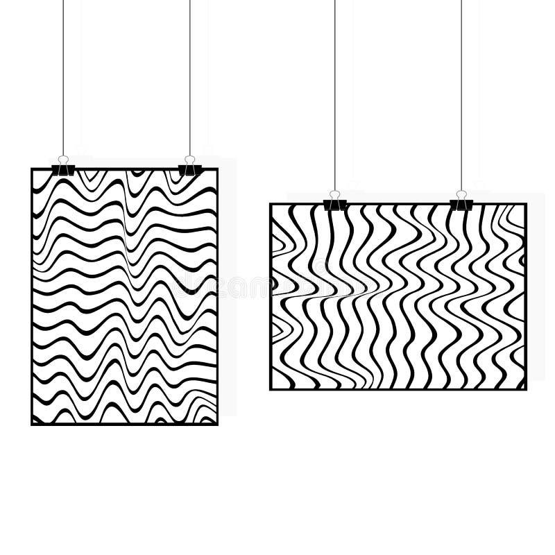 Cartel que cuelga con arte de la cebra Vector el modelo inconsútil monocromático, las líneas curvadas, el fondo negro y blanco ra stock de ilustración