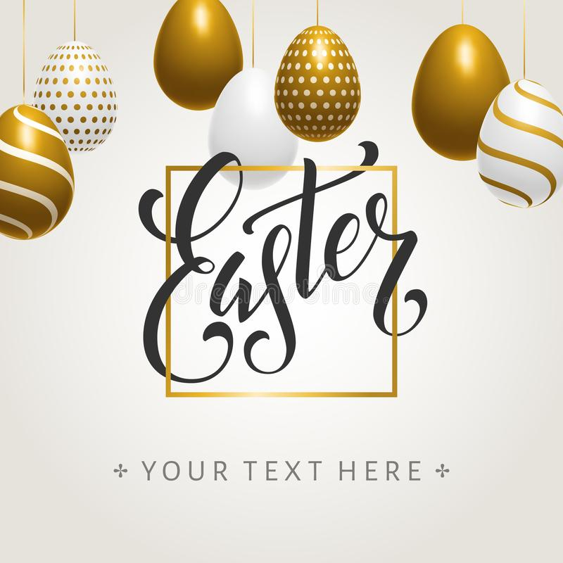 Cartel que pone letras manuscrito de los huevos de Pascua foto de archivo