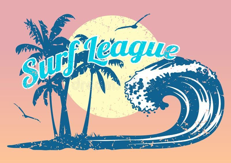 Cartel que practica surf con la onda y las palmeras ilustración del vector