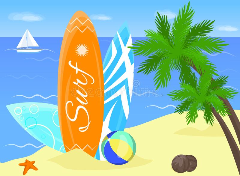 Cartel que practica surf Tarjeta de resaca en la costa de Garda libre illustration