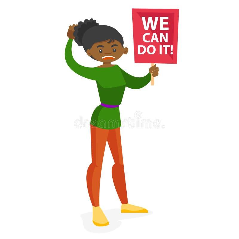 Cartel que se sostiene feminista joven en la acción de la protesta stock de ilustración