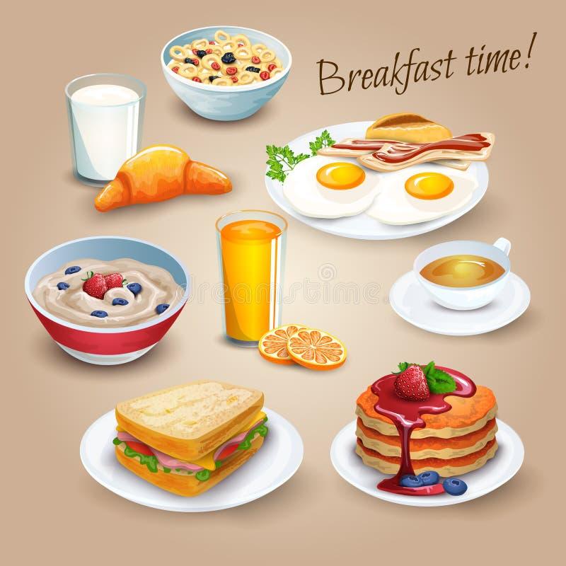 Cartel realista de los pictogramas del tiempo de desayuno ilustración del vector