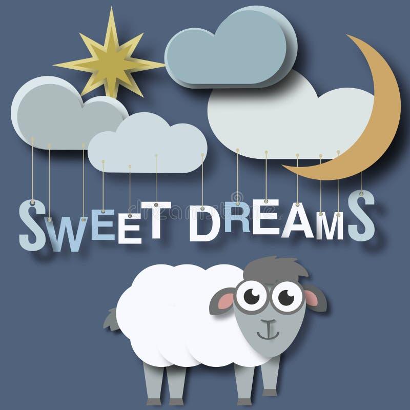 Cartel recién nacido de los bebés de los sueños dulces stock de ilustración