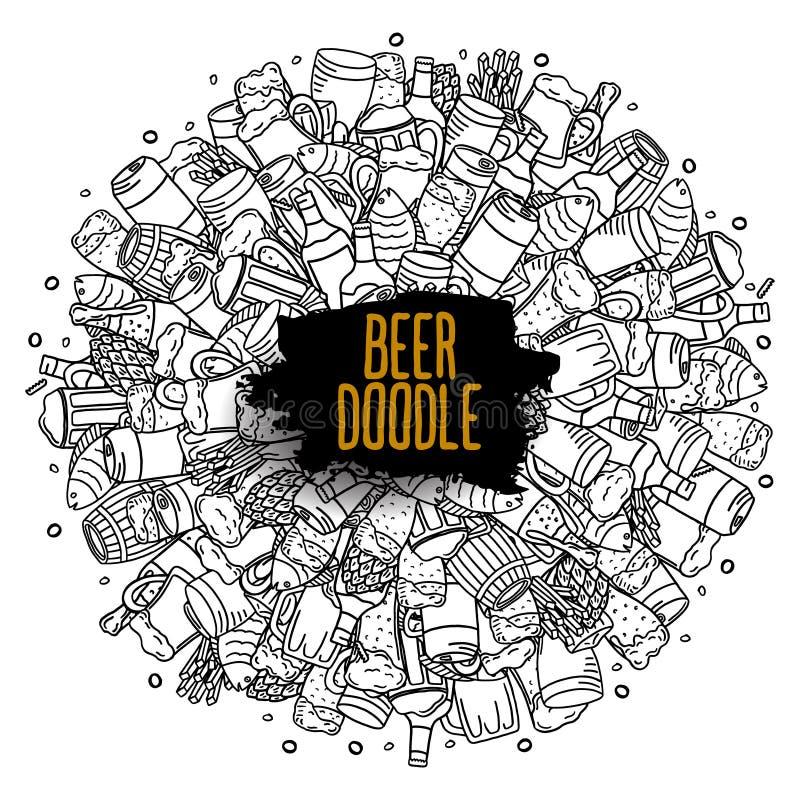 Cartel redondo del garabato de la cerveza etiqueta del vector de los vidrios y de los bocados de cerveza stock de ilustración