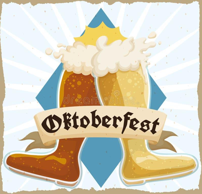 Cartel retro con la bota doble de la cerveza que tuesta en la celebración de Oktoberfest, ejemplo del vector ilustración del vector