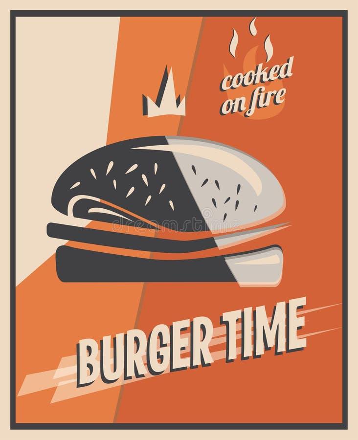 Cartel retro con la hamburguesa con la carne de la carne de vaca concepto y diseño del restaurante ilustración del vector