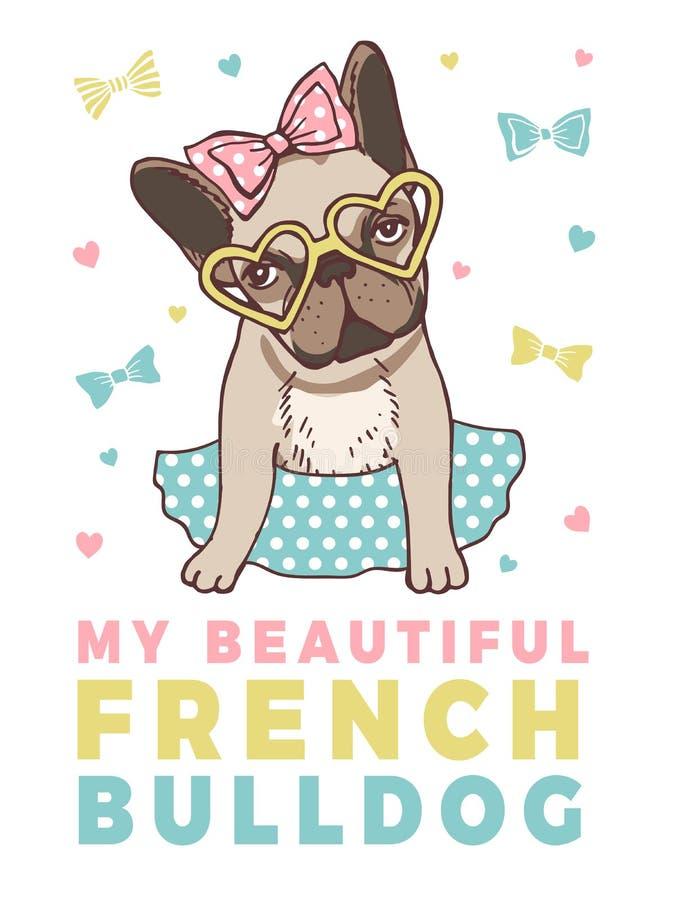 Cartel retro con los ejemplos del dogo francés divertido libre illustration