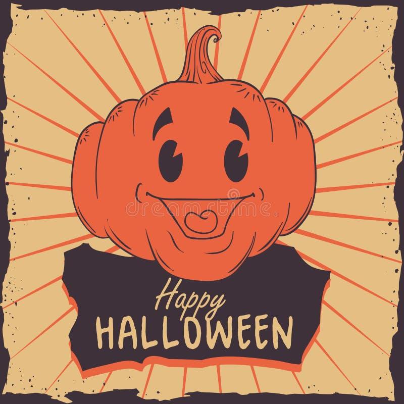 Cartel retro de la calabaza del feliz Halloween stock de ilustración