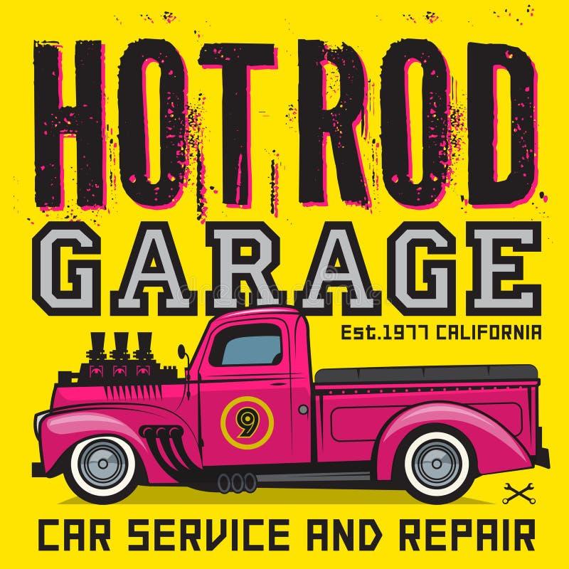 Cartel retro de la camioneta pickup con el texto Rod Garage caliente libre illustration