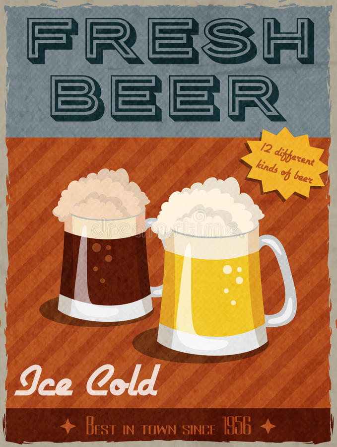 Cartel retro de la cerveza libre illustration