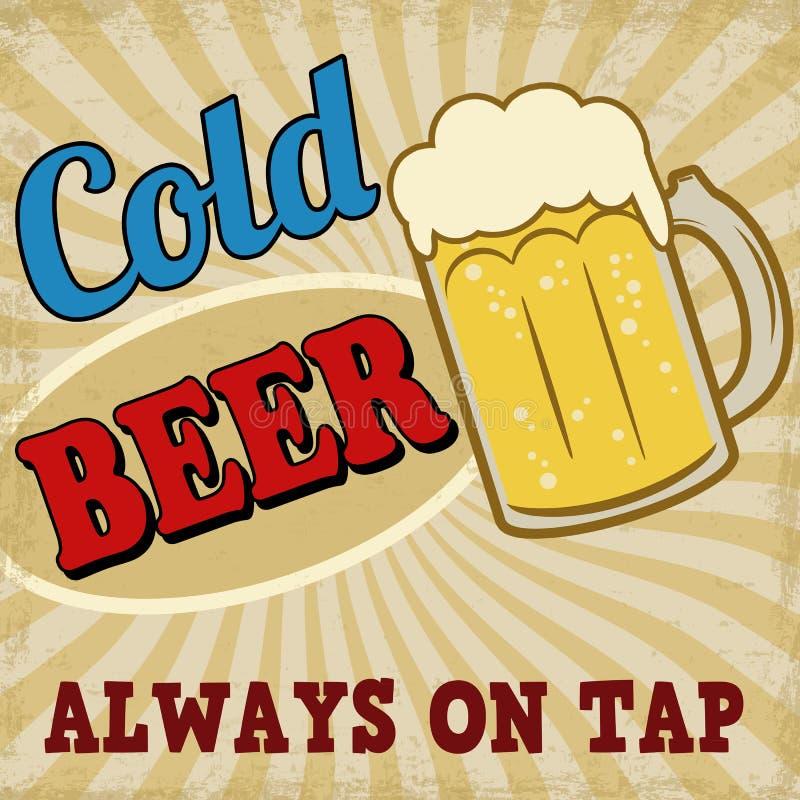 Cartel retro de la cerveza fría stock de ilustración