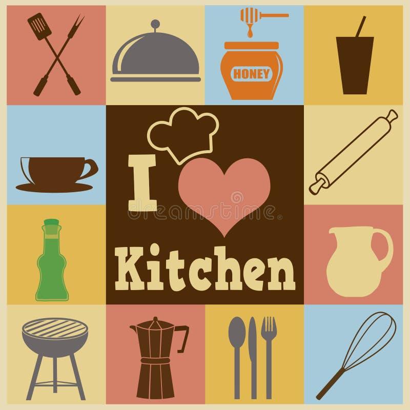 Cartel retro de la cocina stock de ilustración